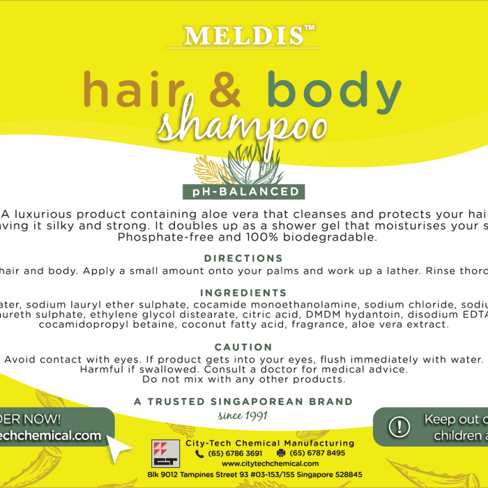 Hair & Body Shampoo (SHA101) Label