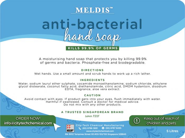 Anti-bacterial handsoap HSB102 label