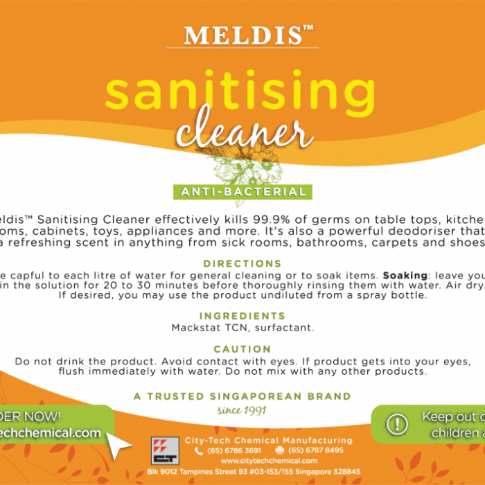 Meldis™ Sanitising Cleaner Label (5 litres)
