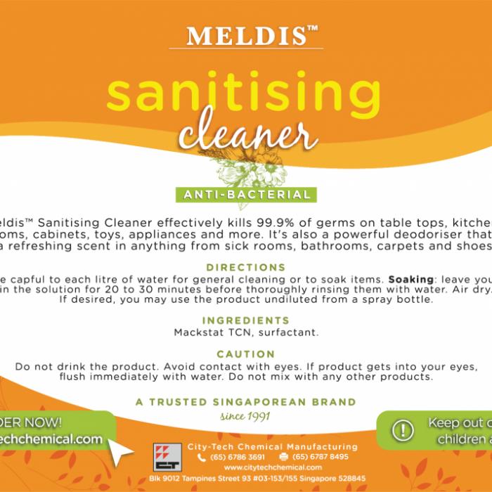 Meldis™ Sanitising Cleaner Label (5 litres)